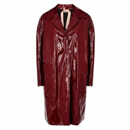 No.21 Burgundy Silk And PVC Coat