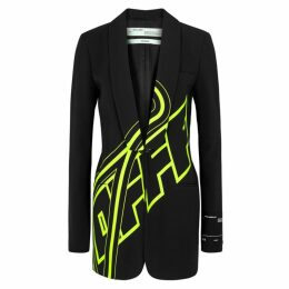 Off-White Black Printed Blazer