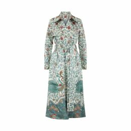 Varana Silk Tree Of Life Print Trench Coat