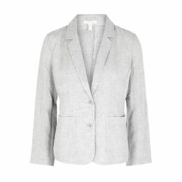 EILEEN FISHER Grey Linen-blend Blazer