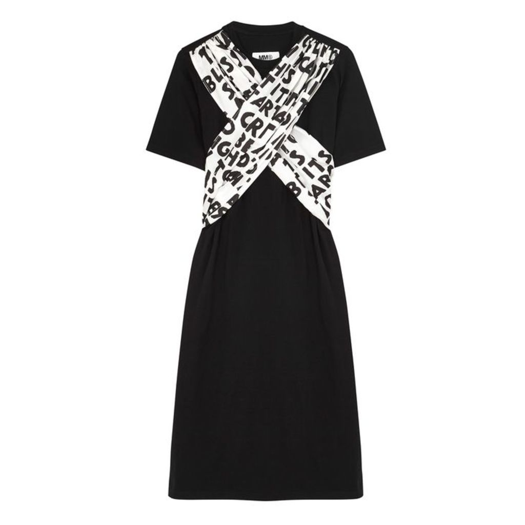 MM6 By Maison Margiela Black Printed Cotton T-shirt Dress