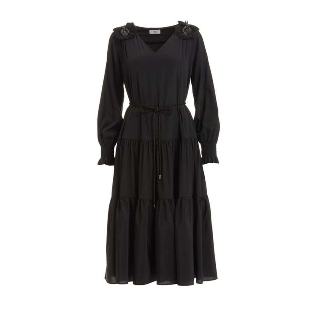 WtR Azafran Black Silk Ruffle Midi Dress