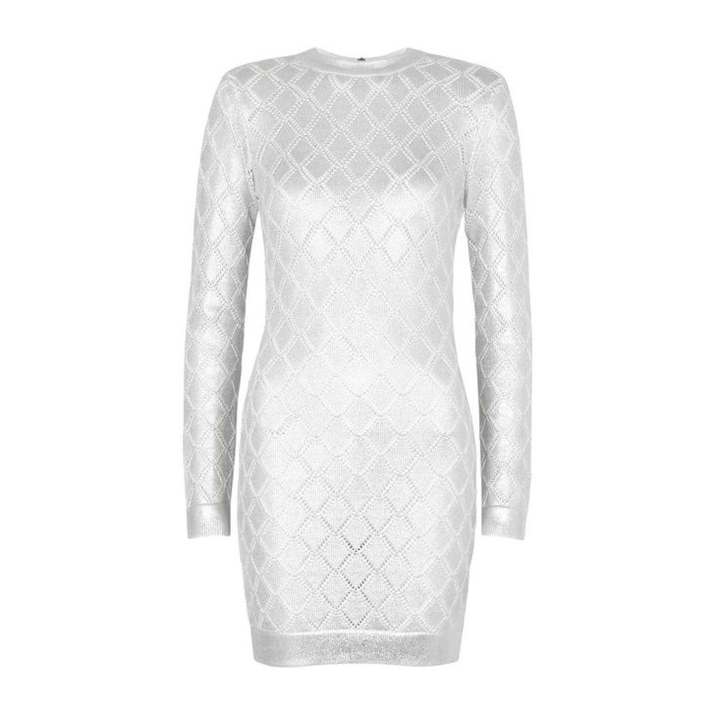 Balmain Silver Stretch-knit Mini Dress