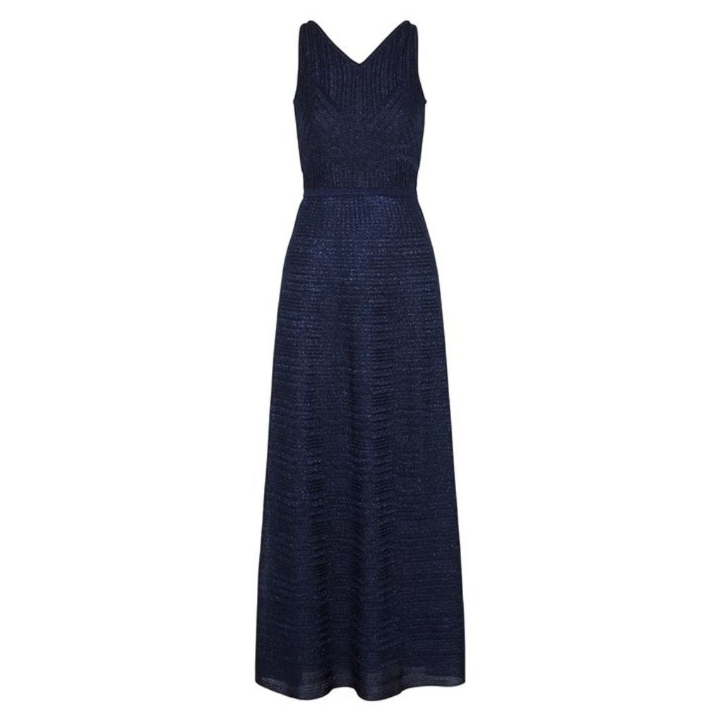 M Missoni Navy Metallic Fine-knit Maxi Dress