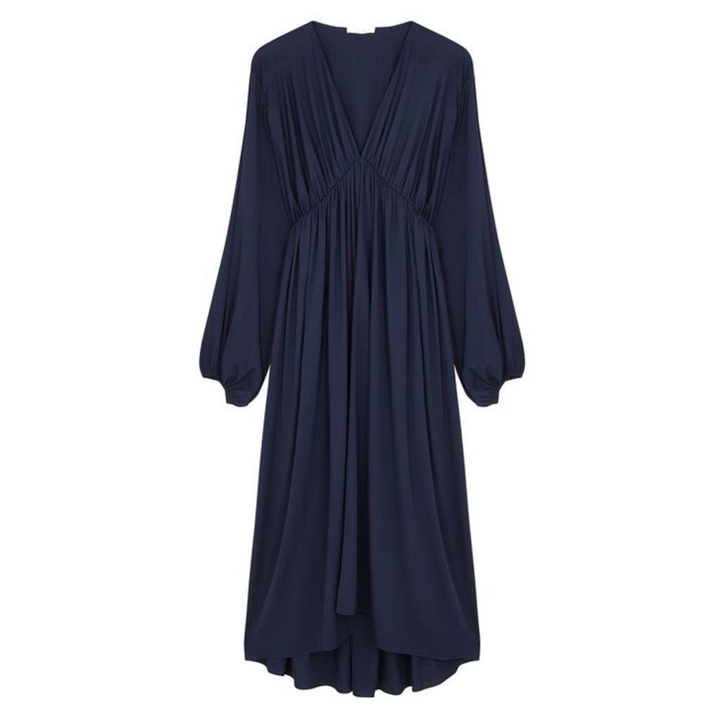 THE ROW Sasha Navy Stretch-silk Midi Dress