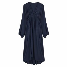 THE ROW Sasha Navy Stretch-silk Midi Dress