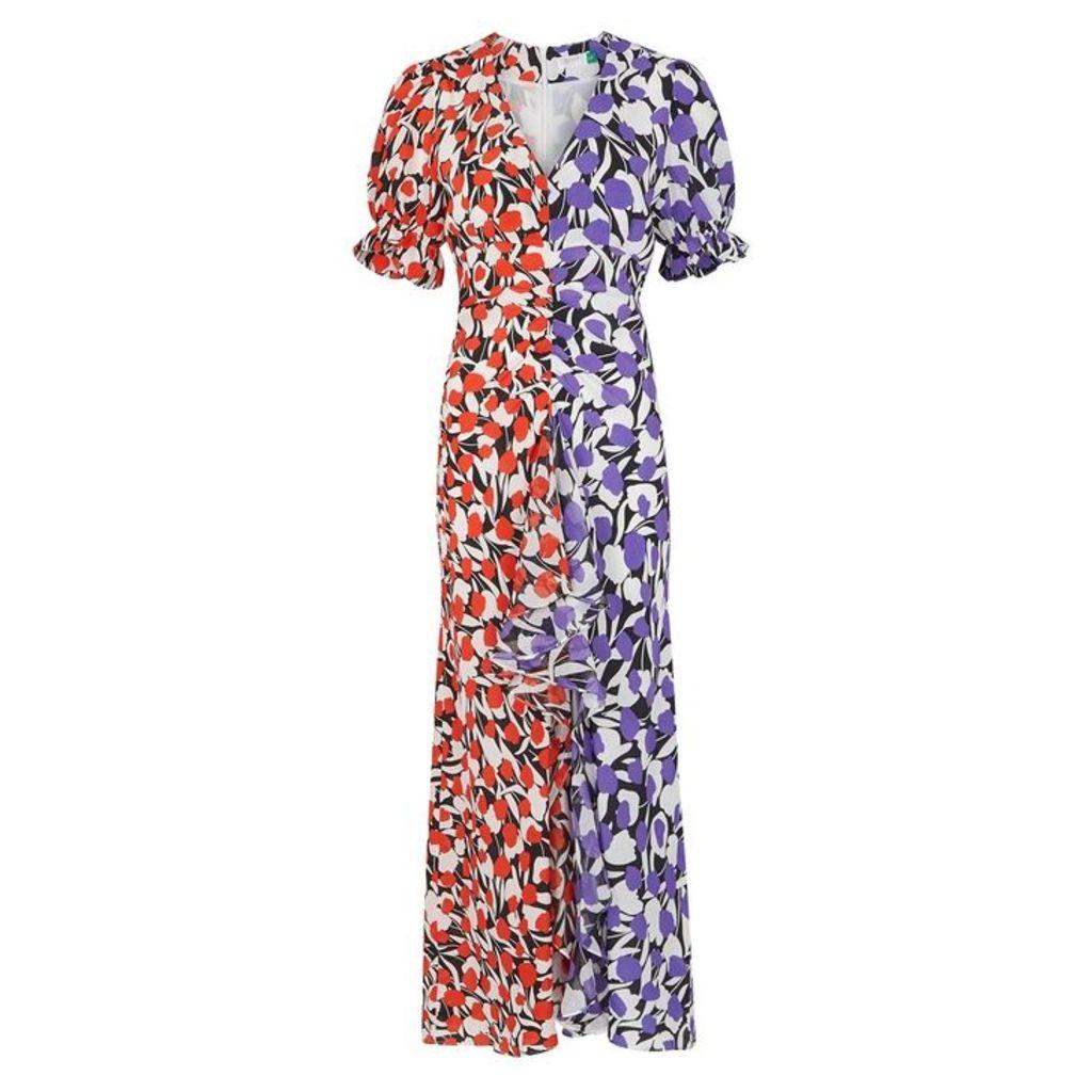 RIXO Ariel Floral-print Silk Midi Dress
