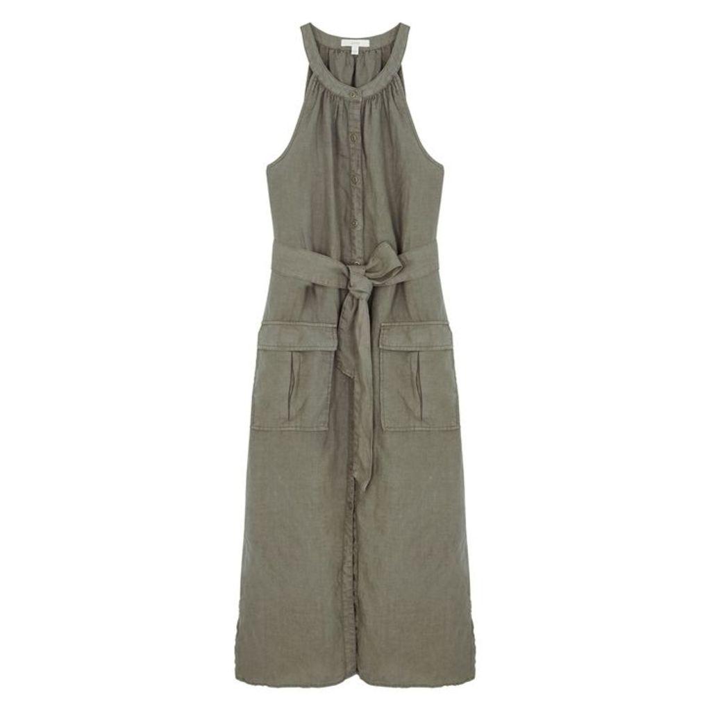 Joie Edelie Army Green Linen Midi Dress