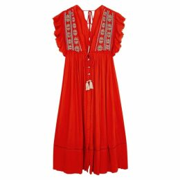 Free People Bali Will Wait For You Embroidered Midi Dress