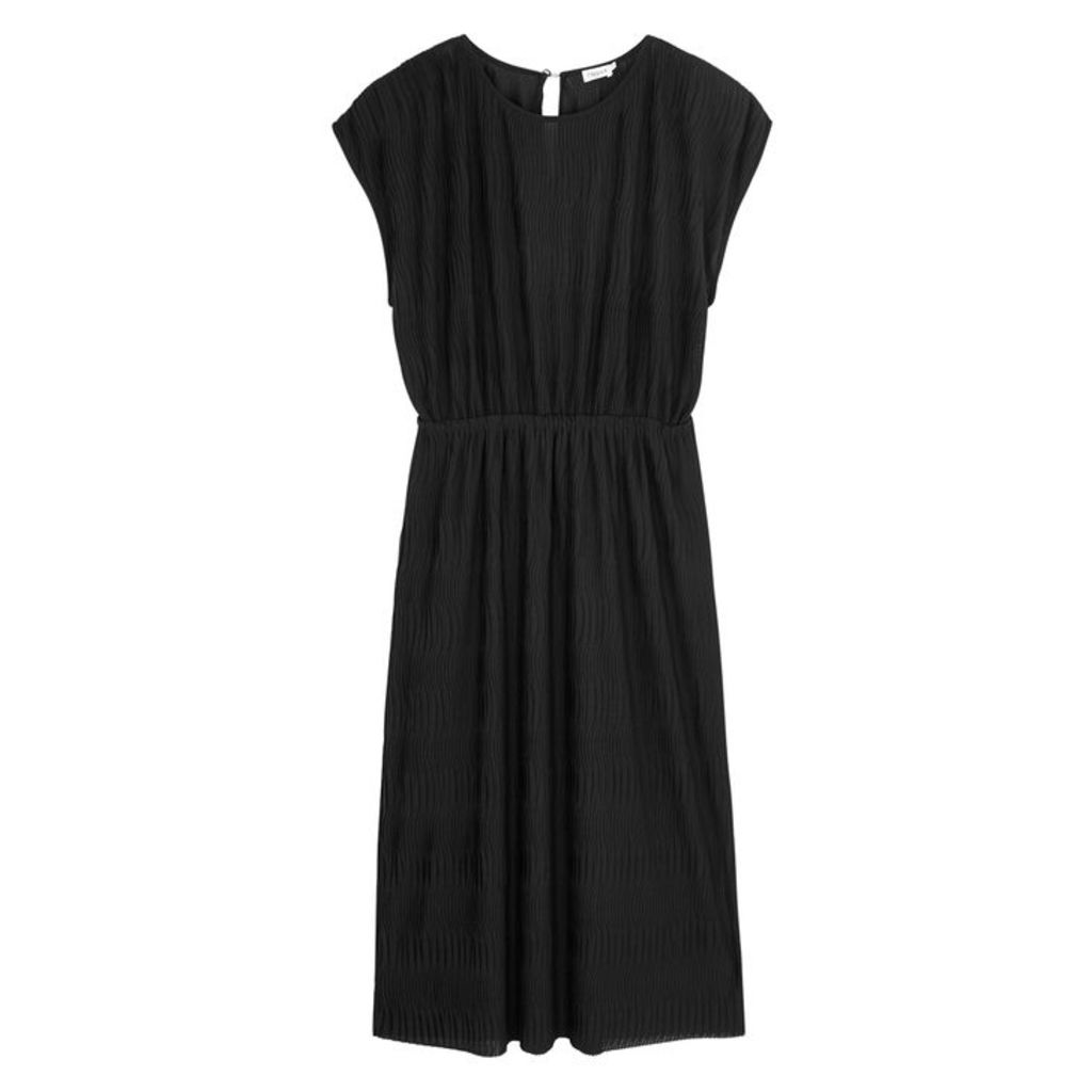 Filippa K Black Plissé Midi Dress