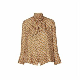 Burberry Monogram Print Silk Pussy-bow Blouse