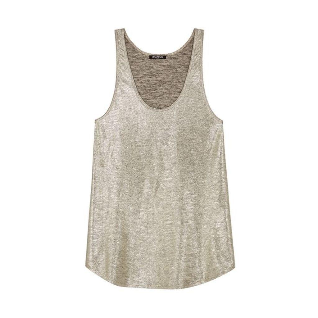 Balmain Silver Coated-knit Top