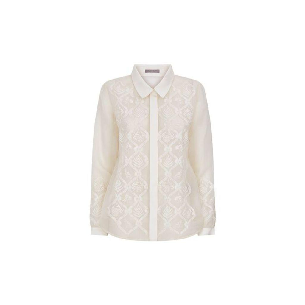 Varana Ivory Organza Shirt With Ruffle Back