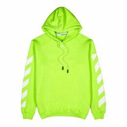 Off-White Neon Green Hooded Cotton Sweatshirt