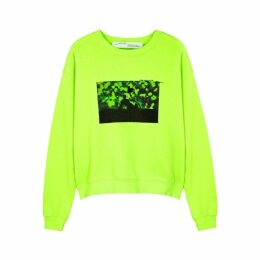 Off-White Neon Green Printed Cotton Sweatshirt