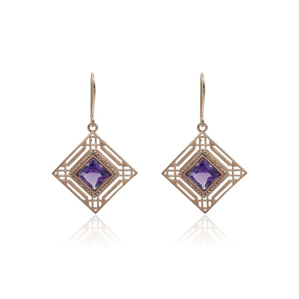 Eliza Bautista - Marlene Art Deco Earrings With Amethyst & White Topaz In Rose Gold Vermeil