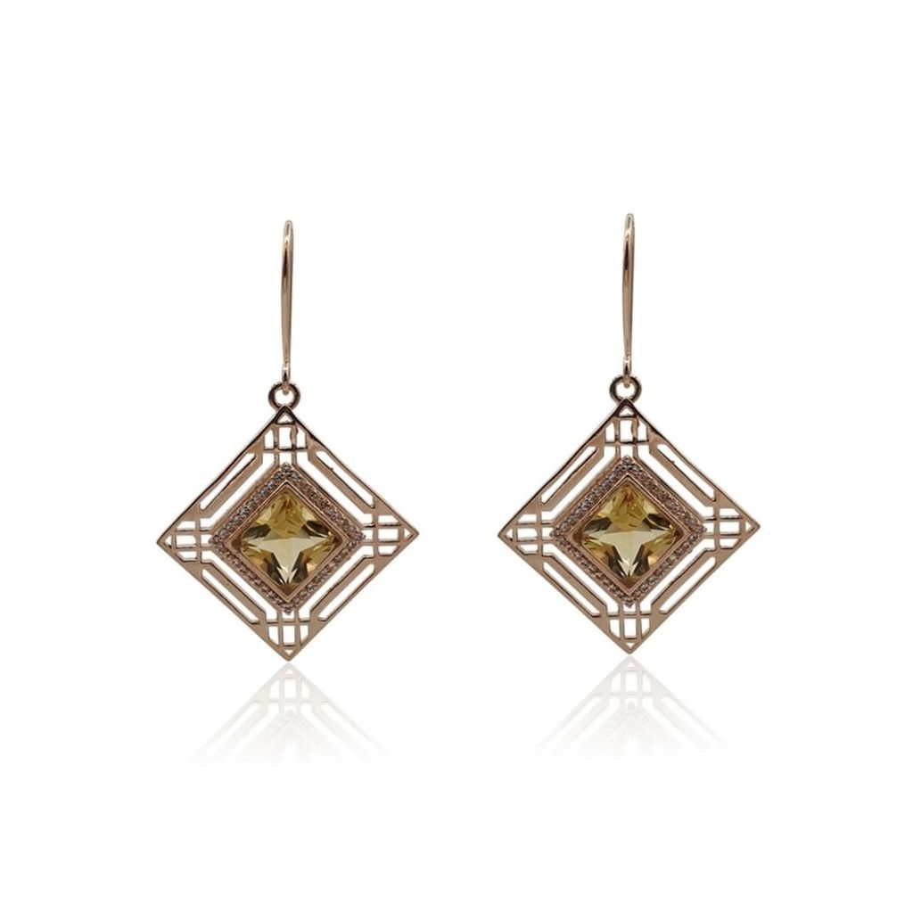 Eliza Bautista - Marlene Art Deco Earrings With Citrine & White Topaz In Rose Gold Vermeil