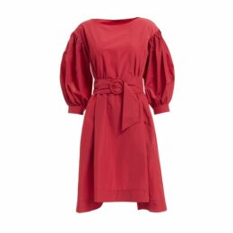 WtR - Veronica Red Belted Balloon Sleeve Dress
