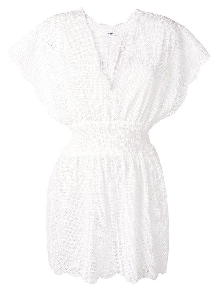 Marysia shirred waist dress - White