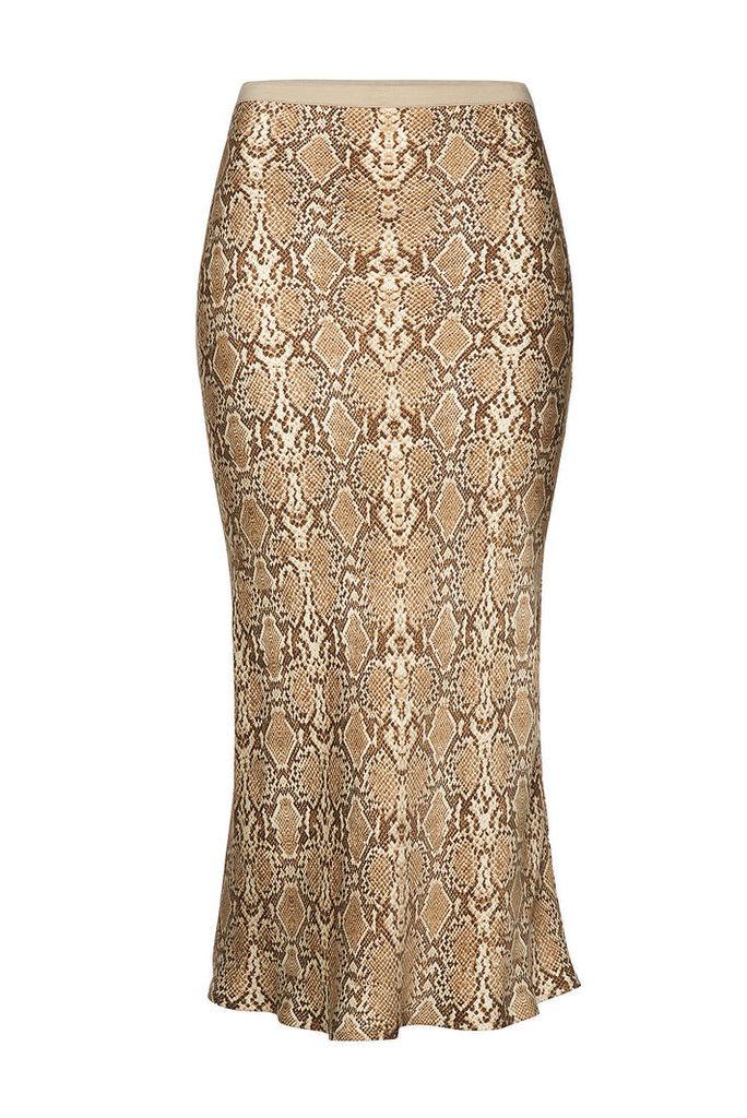 Anine Bing Bar Snakeskin Printed Silk Midi Skirt