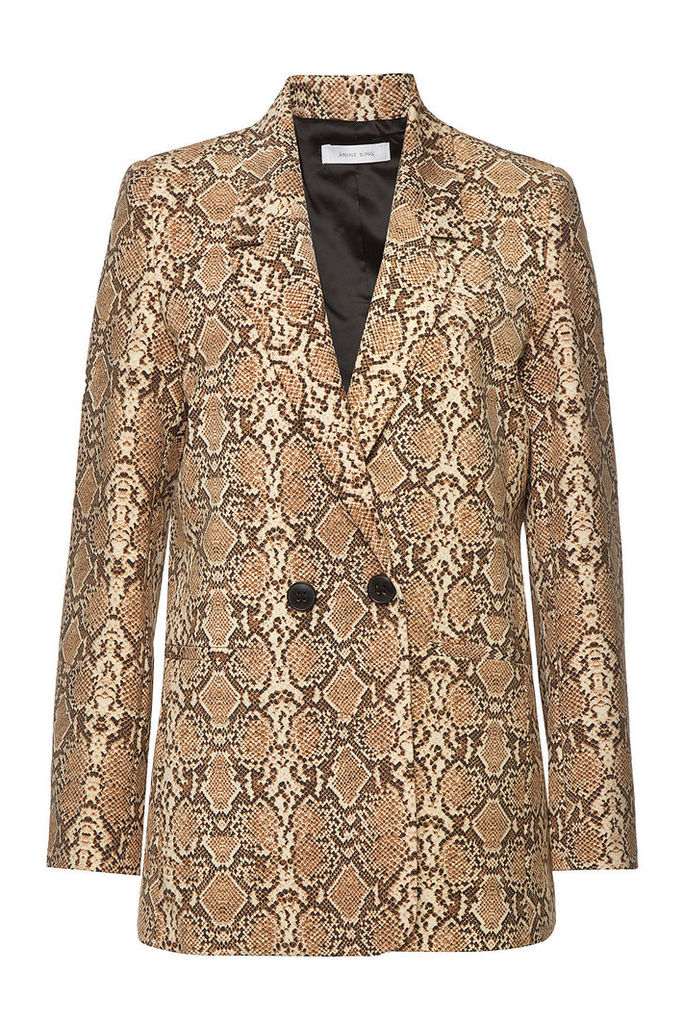 Anine Bing Madeleine Snakeskin Printed Blazer