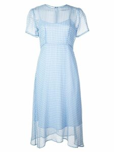HVN check print midi dress - Blue
