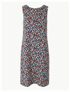 M&S Collection Linen Rich Printed Shift Dress