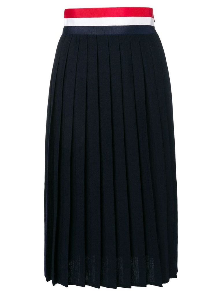 Thom Browne Rwb Grosgrain Waistband Wool Skirt - Blue
