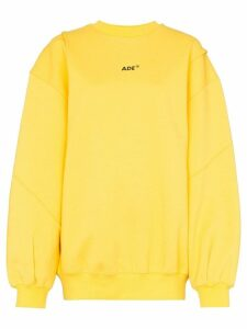 Ader Error logo-print oversized cotton-blend sweatshirt - Yellow