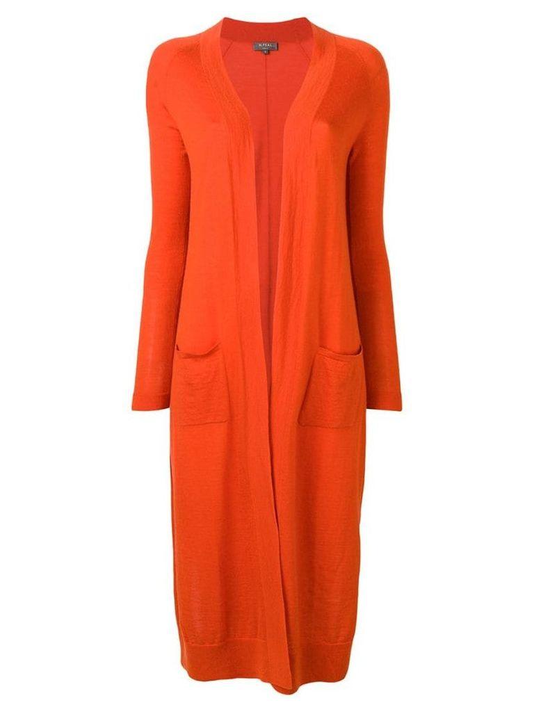 N.Peal long open front cardigan - Orange