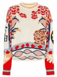 Etro Floral-intarsia cotton jumper - 108 - Multicoloured