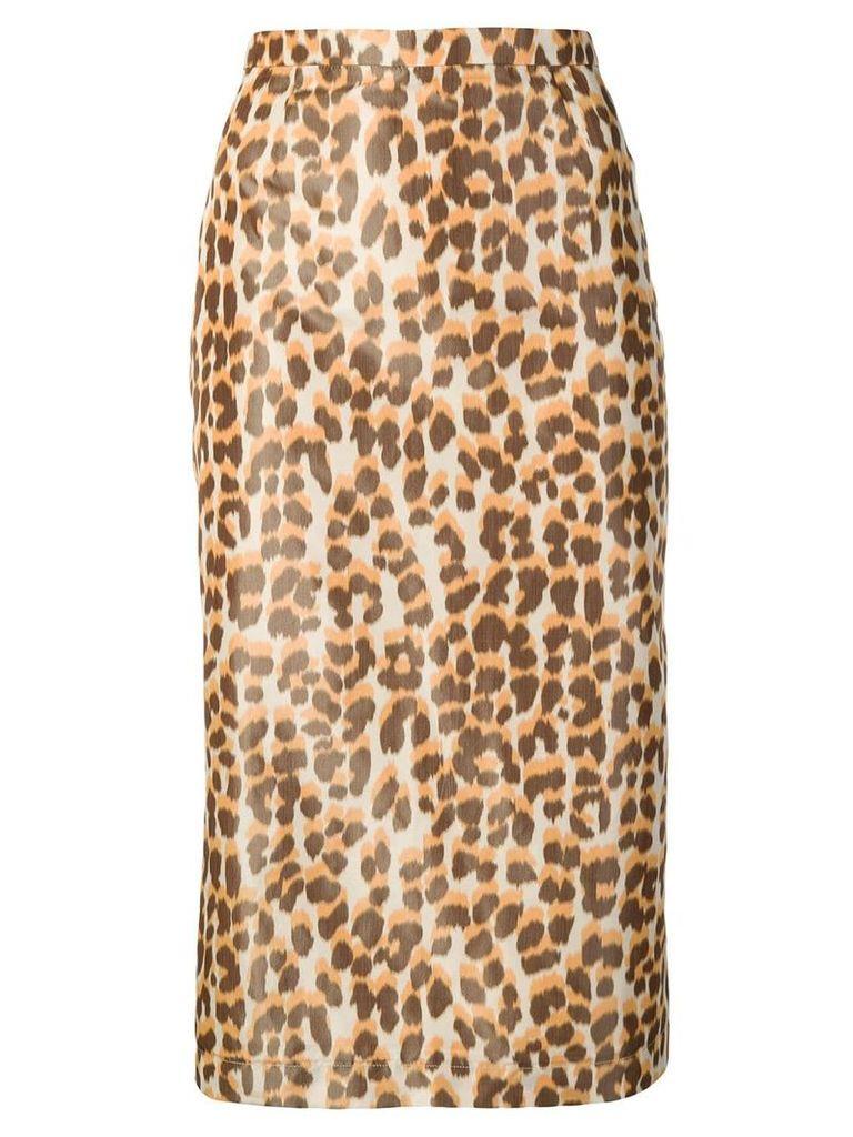 Rochas leopard-print pencil skirt - Neutrals