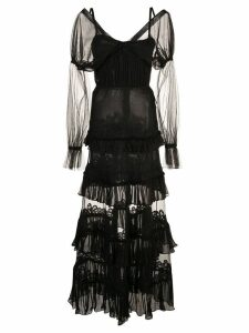 Jonathan Simkhai lace tulle ruffle dress - Black