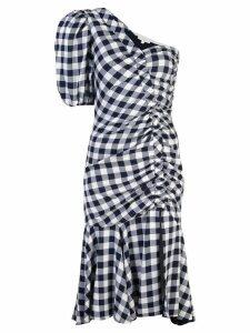 Jonathan Simkhai gingham asymmetric gathered dress - Blue
