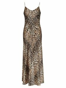 Ganni Blakely leopard-print stretch-silk slip dress - Brown