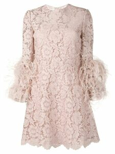 Valentino embellished heavy lace dress - Pink