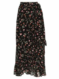 Ganni Elm floral-print ruffled-georgette wrap skirt - Black