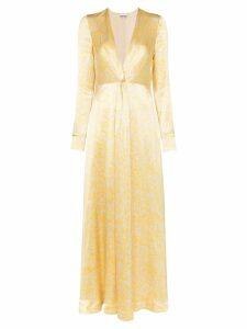 Ganni Cameron floral-print satin dress - Yellow