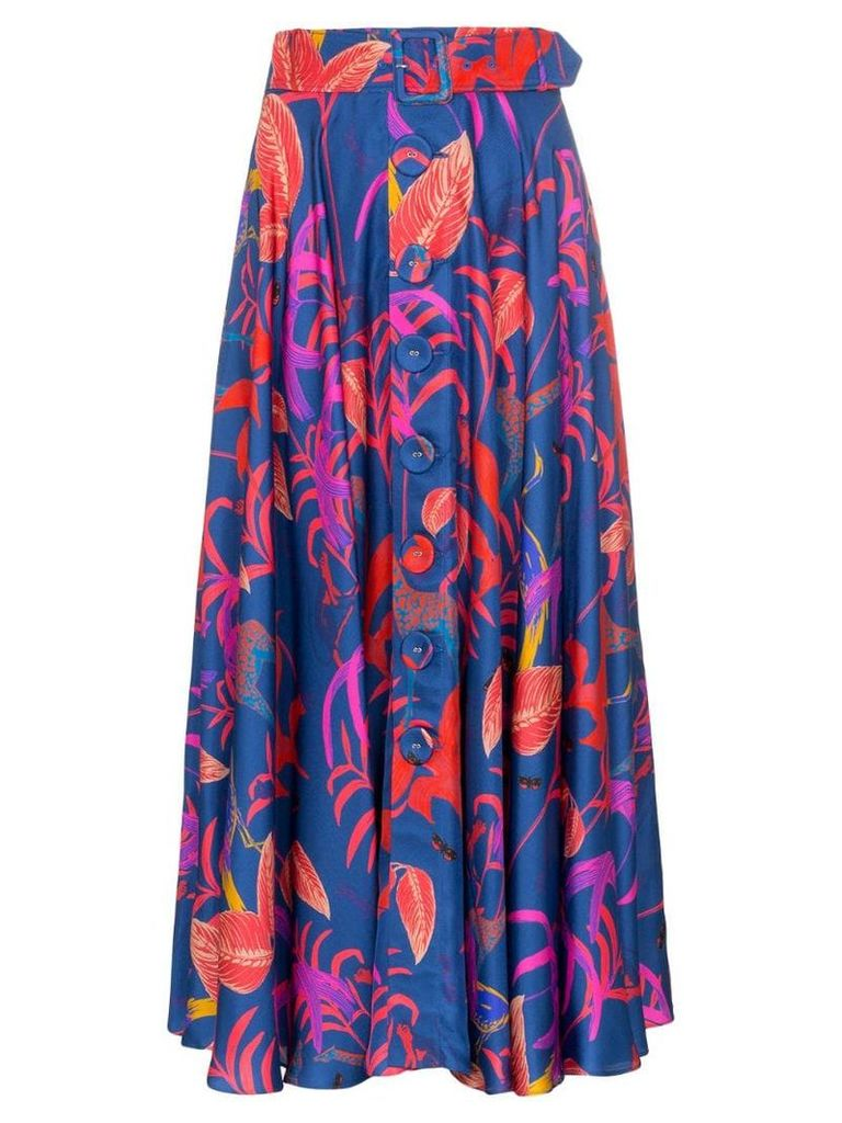 Borgo De Nor Leaf-print belted silk skirt - Blue