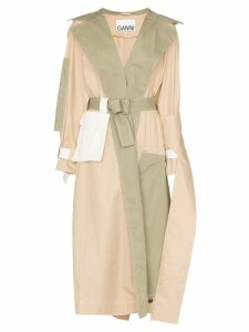 Ganni Hazel deconstructed cotton trench coat - Neutrals