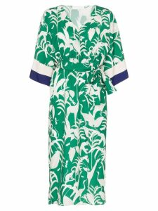 Borgo De Nor Leaf-print belted kimono dress - Green