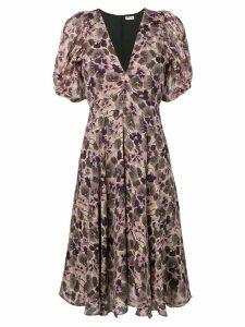 Masscob floral print silk dress - Purple