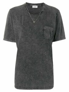 Saint Laurent raw round neckline T-shirt - Grey