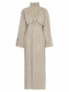 Situationist High-neck contrast-stitch belted trench coat - Neutrals