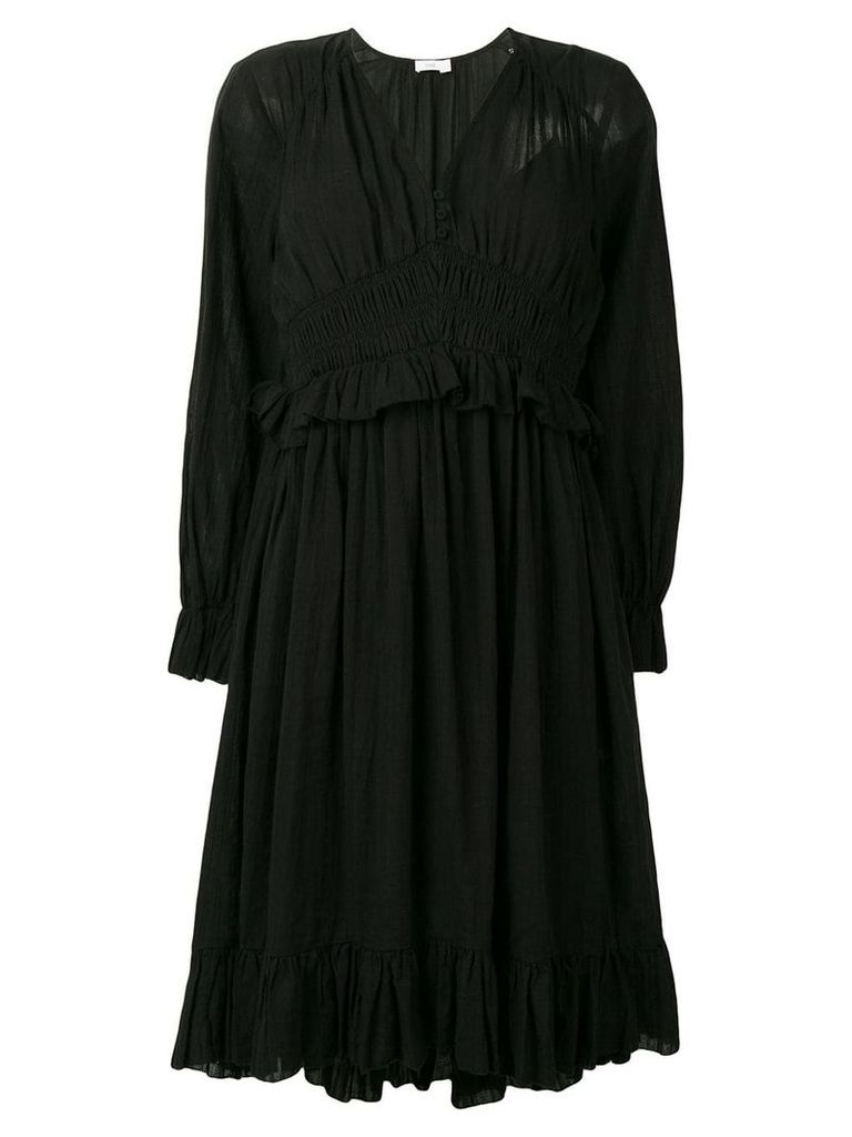Closed gathered waist dress - Black