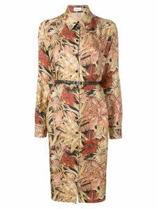 Salvatore Ferragamo belted floral shirt dress - Neutrals