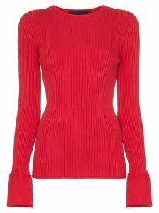 Juun.J Long-sleeved ribbed knit top - Red