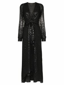 Haney Coco belted silk and lurex gown - Black