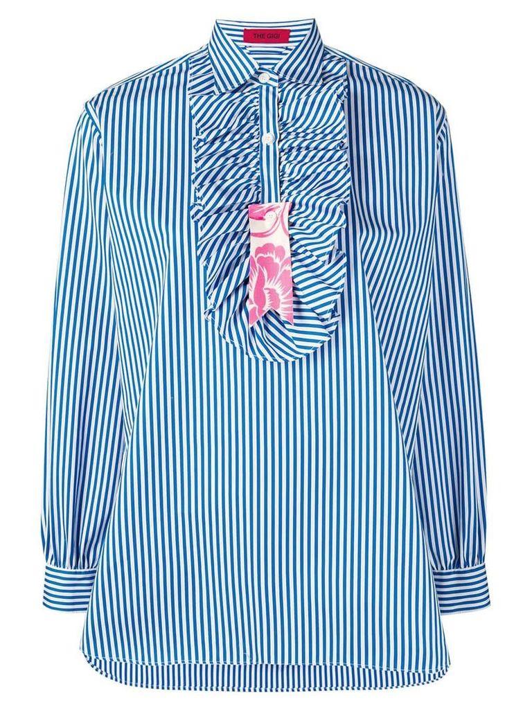 The Gigi striped ruffle placket shirt - Blue