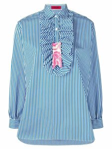 The Gigi striped ruffle placket shirt - Blue